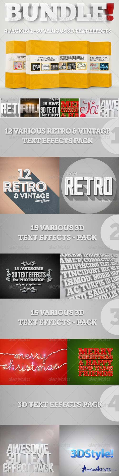 GraphicRiver Bundle - 50 Creative 3D Text Effects