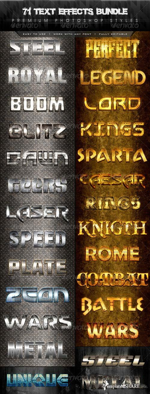 GraphicRiver 71 Premium Text Effects Styles Bundle