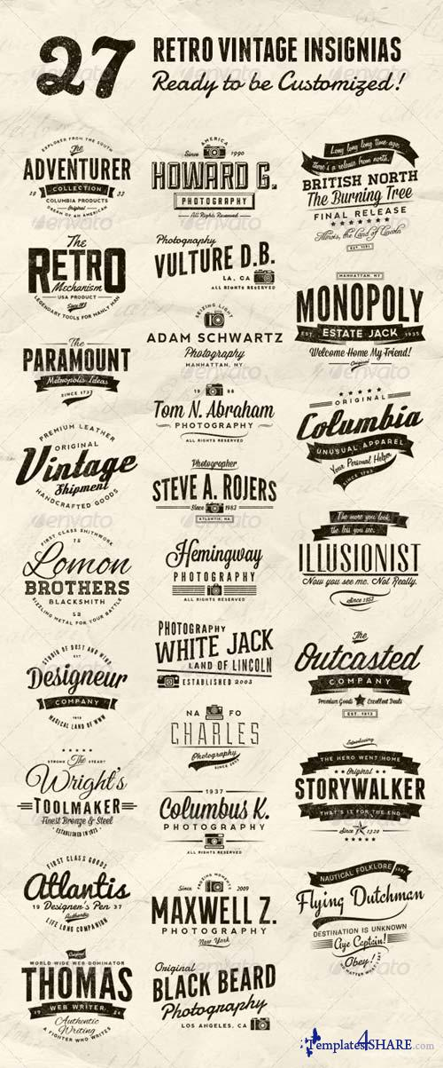 GraphicRiver 27 Retro Vintage Insignias Bundle Volume 1