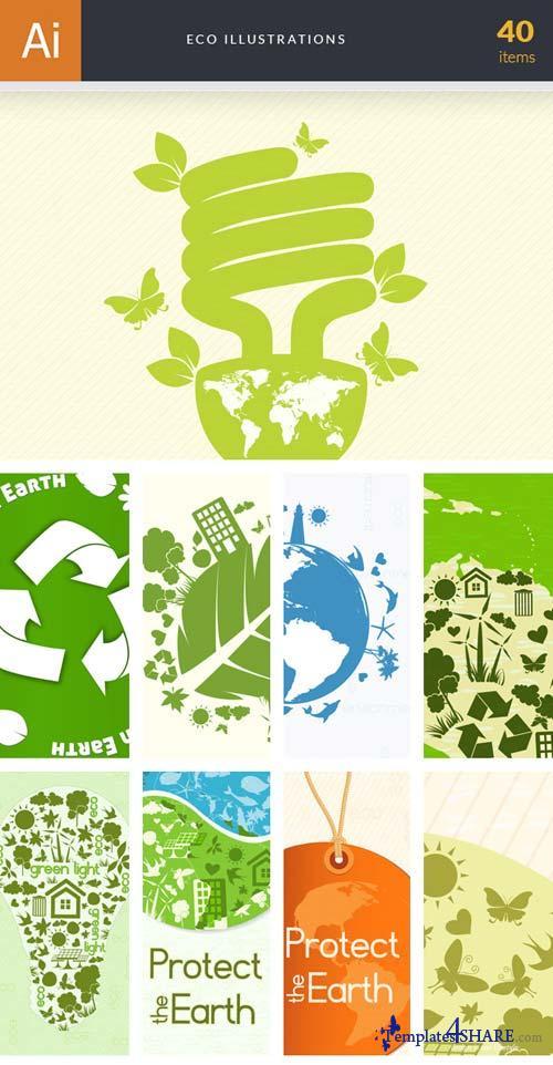 InkyDeals - 40 Eco Illustrations