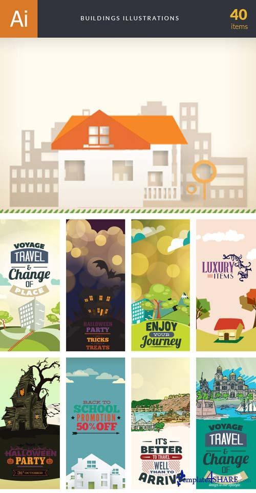 InkyDeals - 40 Building Illustrations