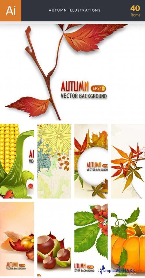 InkyDeals - 40 Autumn Illustrations