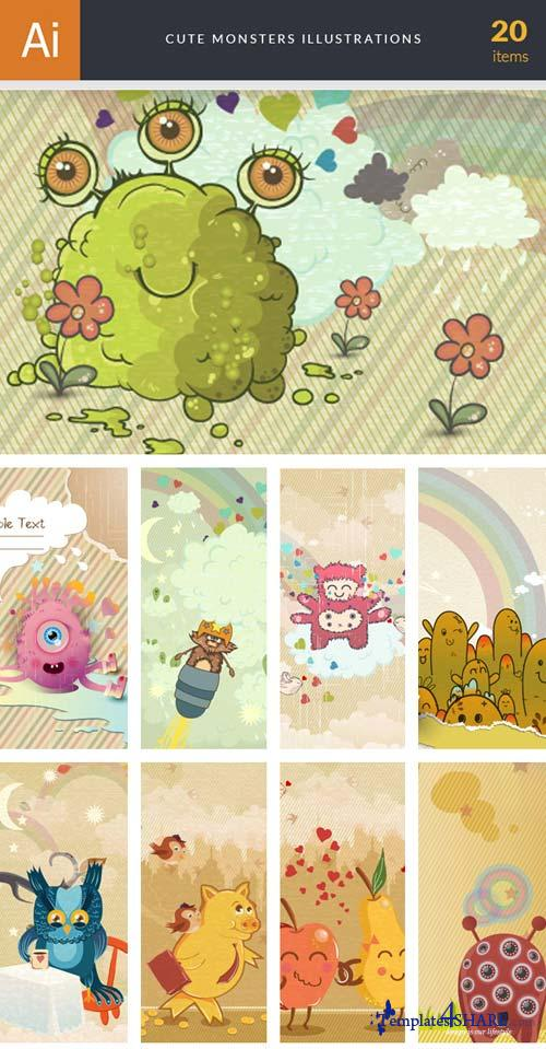 InkyDeals - 20 Cute Monsters Illustrations