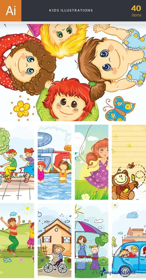 InkyDeals - 40 Kids Illustrations