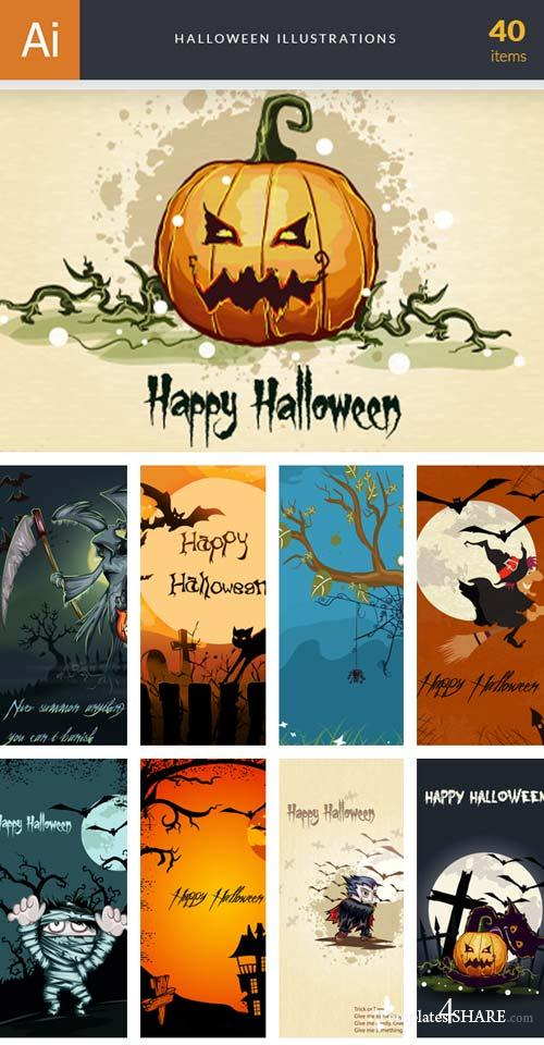 InkyDeals - 40 Halloween Illustrations