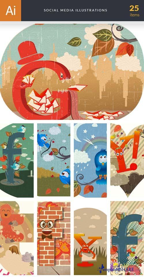 InkyDeals - 25 Social Media Illustrations