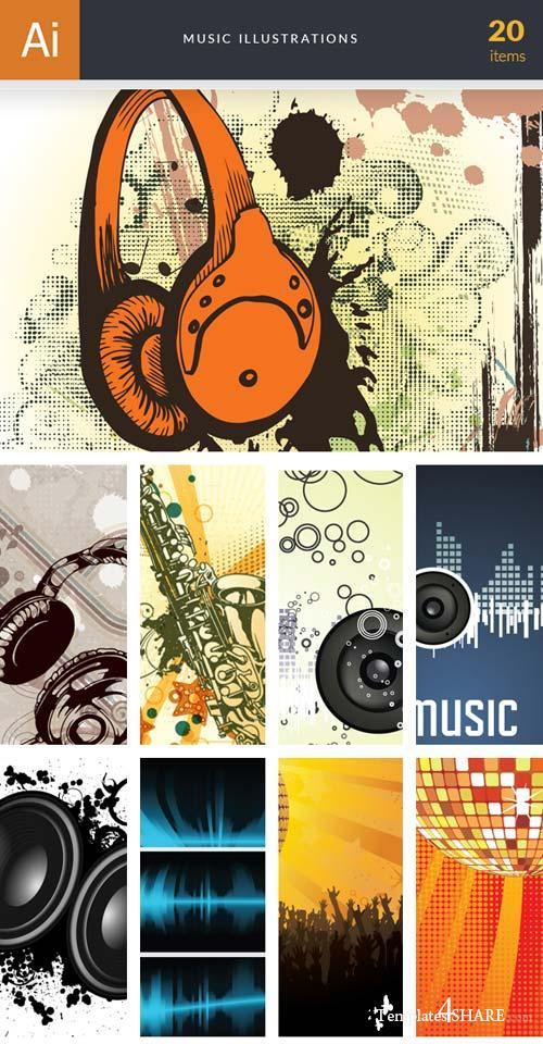 InkyDeals - 20 Music Illustrations