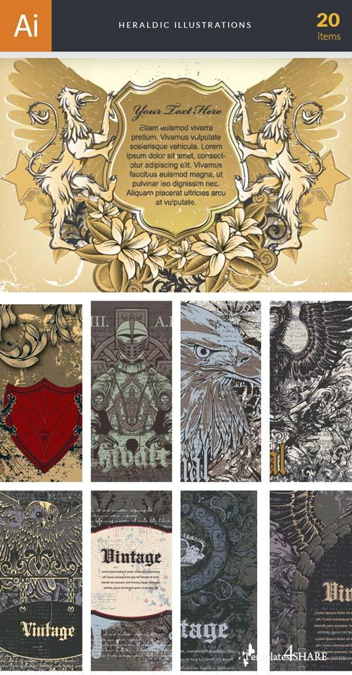 InkyDeals - 20 Heraldic Illustrations