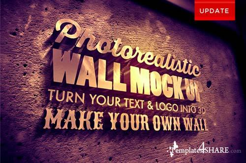 CreativeMarket Photorealistic 3d Wall Mock Up