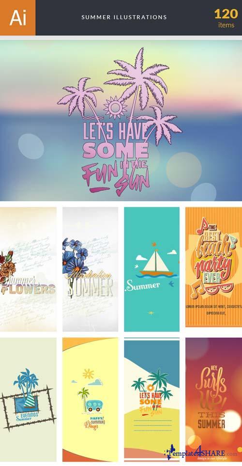 InkyDeals - 120 Summer Illustrations