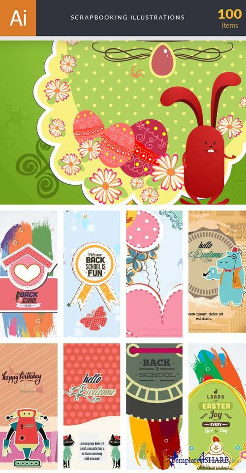InkyDeals - 100 Scrapbooking Illustrations