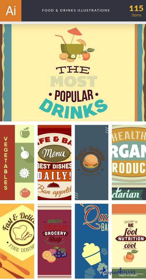 InkyDeals - 115 Food & Drinks Illustrations