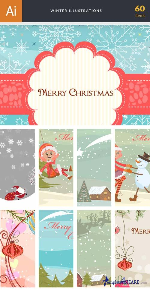 InkyDeals - 60 Winter Illustrations