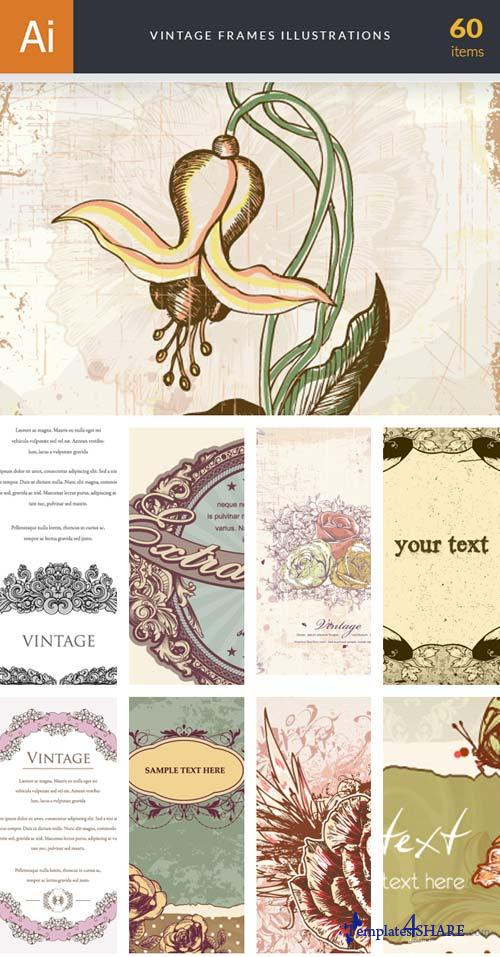 InkyDeals - 60 Vintage Frames Illustrations