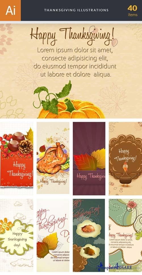 InkyDeals - 40 Thanksgiving Illustrations