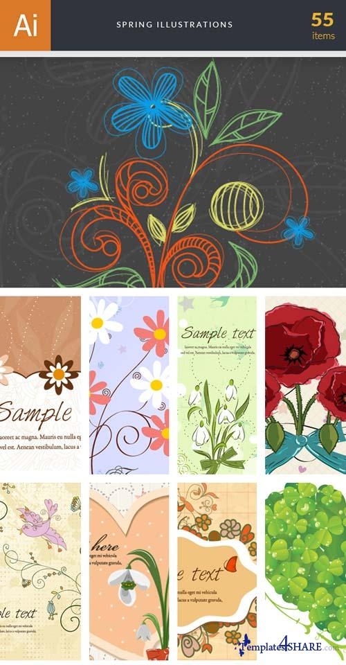 InkyDeals - 55 Spring Illustrations