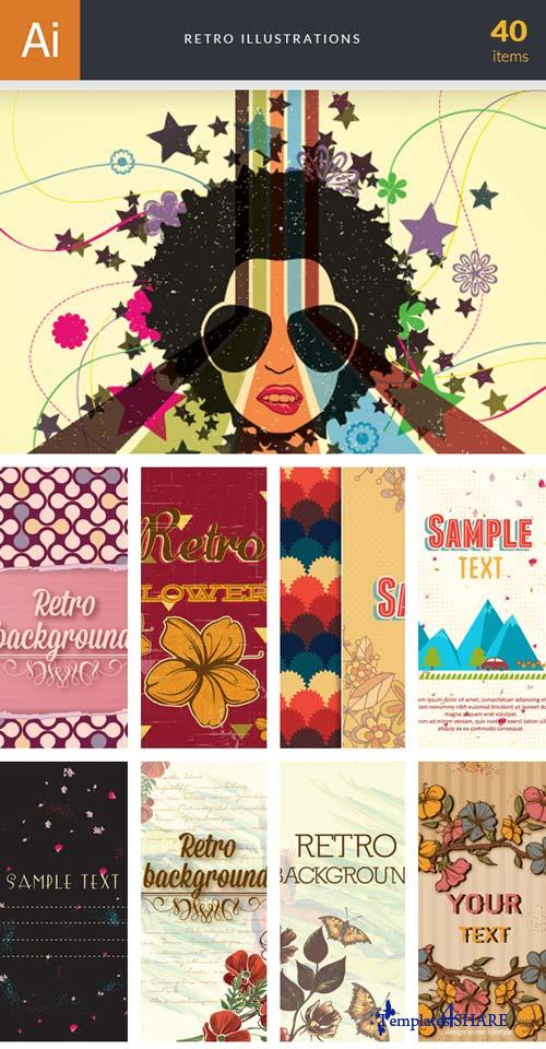 InkyDeals - 40 Retro Illustrations