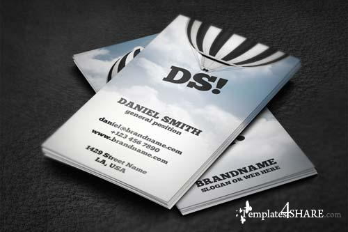 CreativeMarket Hot Air Balloon Business Card