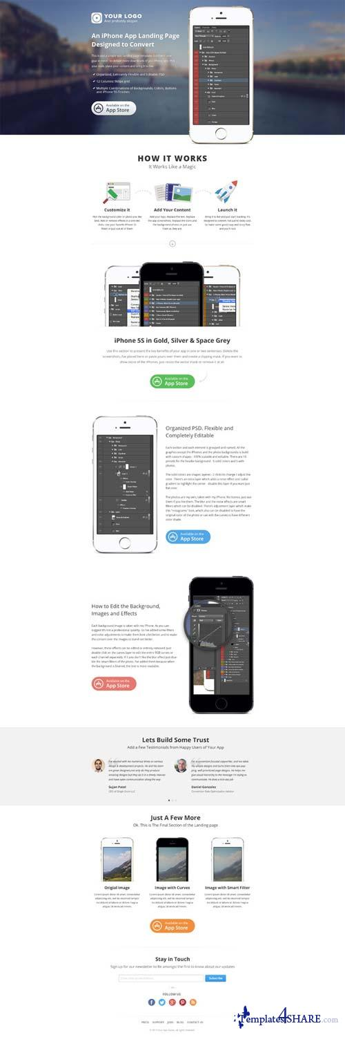 CreativeMarket iPhone App Landing Page (PSD)