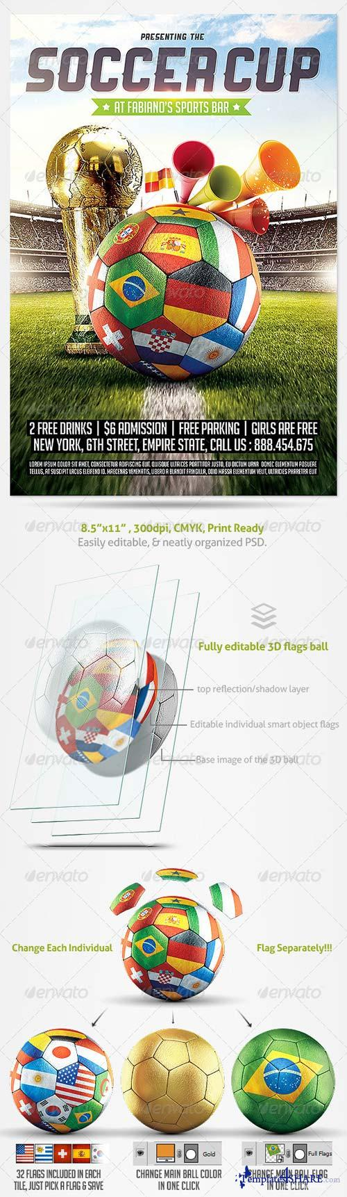 GraphicRiver Brazil Soccer Cup 2014 Football flyer
