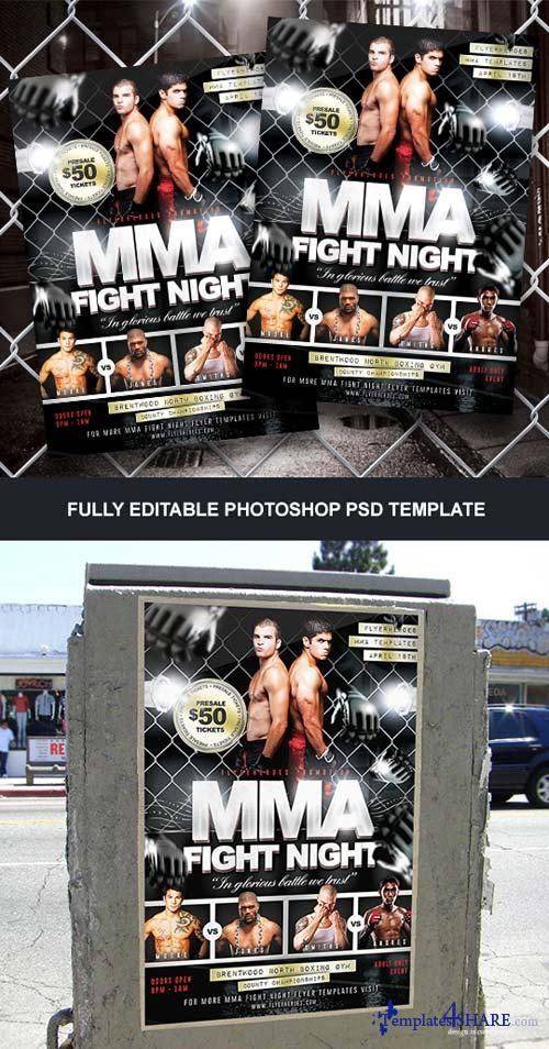 CreativeMarket MMA Fight Night Flyer Template