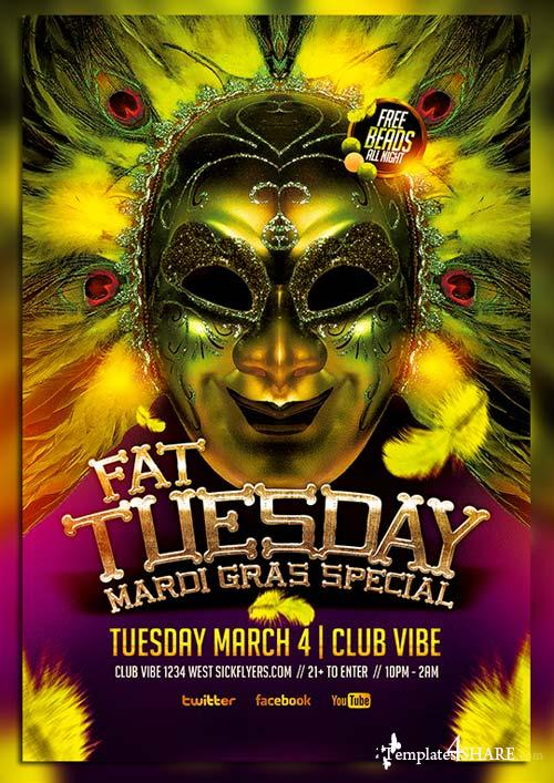 CreativeMarket Fat Tuesday Mardi Gras PSD Flyer