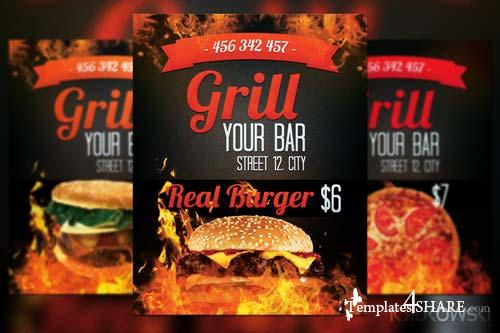 CreativeMarket Grill Bar Flyer