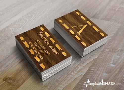 CreativeMarket Wood & Gold Foil Arrow Business Card