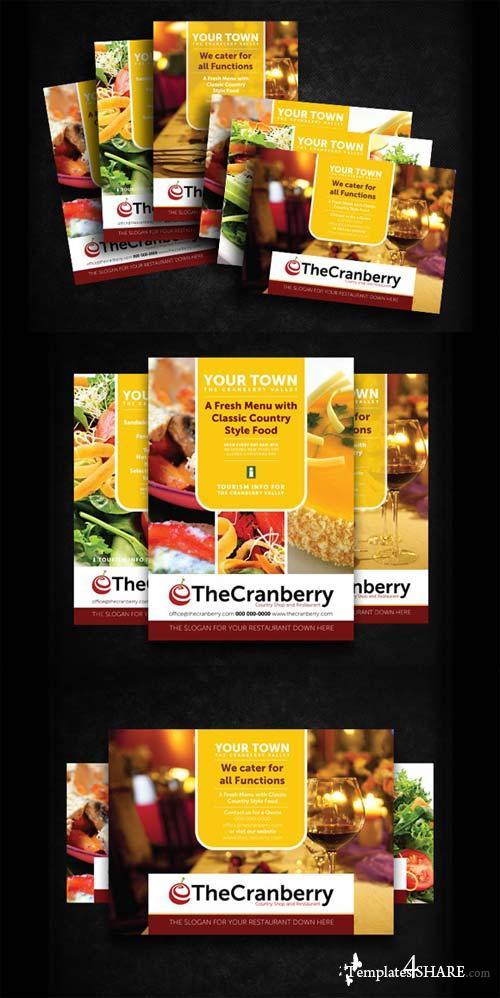 CreativeMarket Cranberry Restaurant Advert Flyer