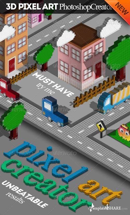 GraphicRiver 3D Pixel Art Photoshop Creator