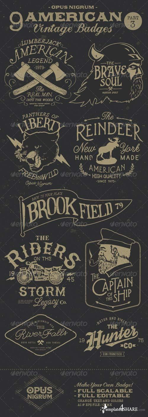 GraphicRiver American Vintage Badges Part 3