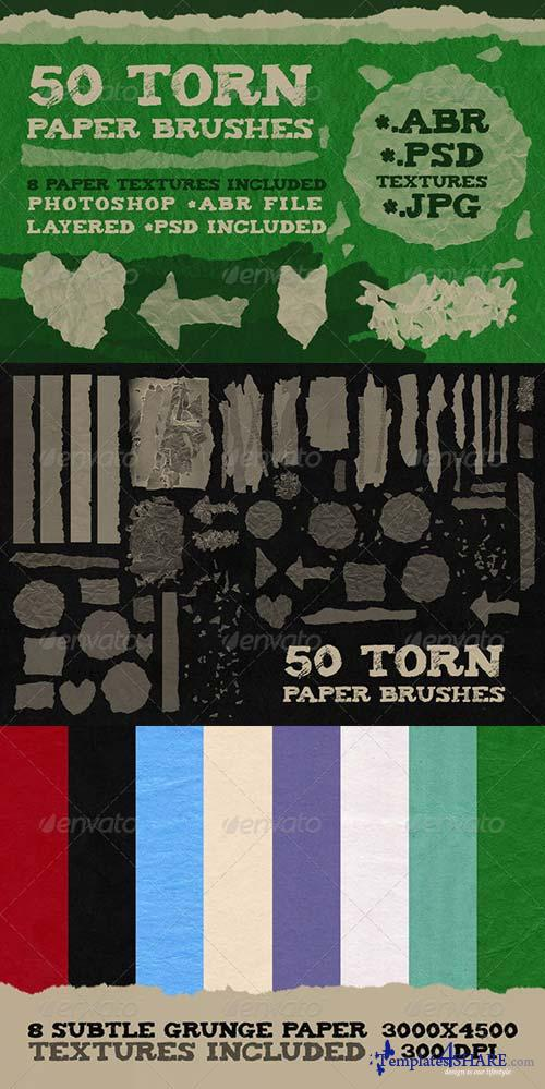 GraphicRiver 50 Torn Paper Brushes + 8 Textures