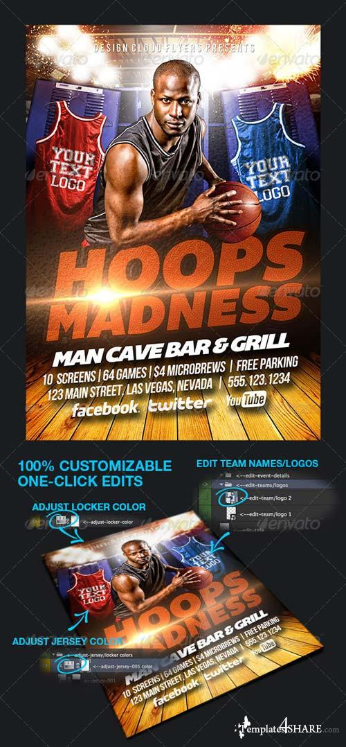 GraphicRiver Hoops Madness College Basketball Flyer Template