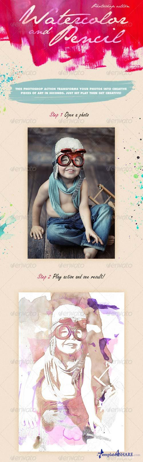 GraphicRiver Watercolor & Pencil Photoshop Action