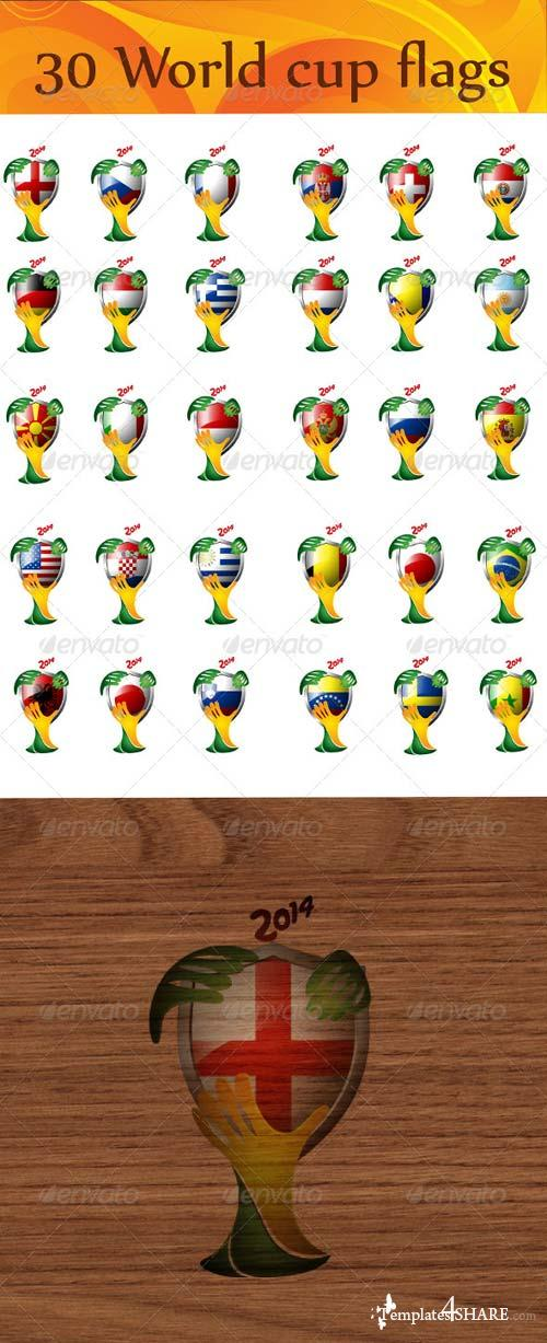 GraphicRiver 32 World Flags for 2014 Brazil World Cup