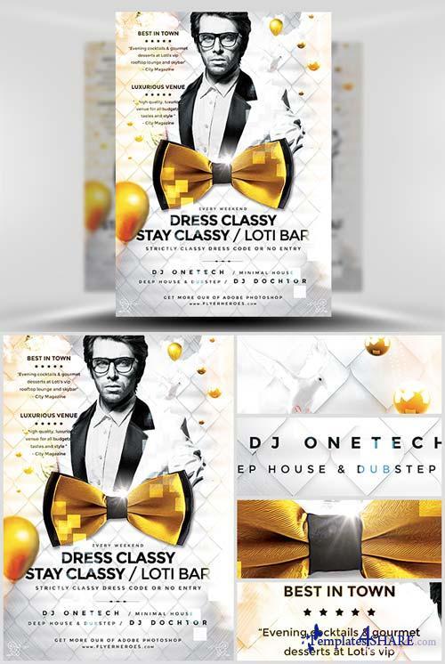 CreativeMarket Dress Classy Stay Classy Flyer