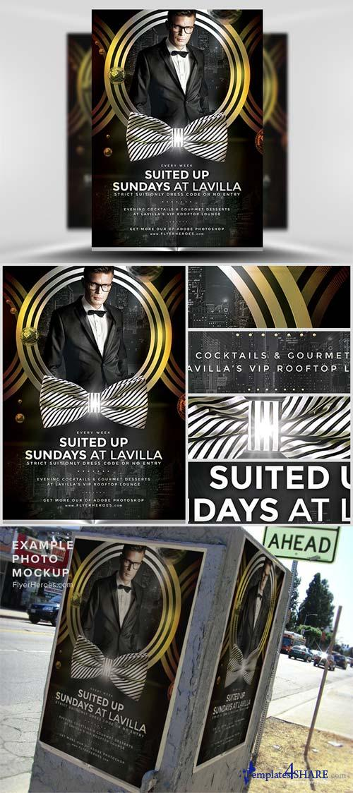 CreativeMarket Suited Up Sundays Flyer Template