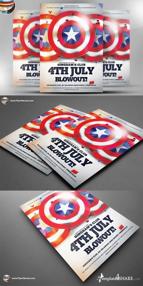 CreativeMarket 4th July Blowout Flyer Template