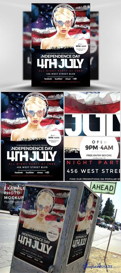 CreativeMarket Geometric 4th July Flyer Template