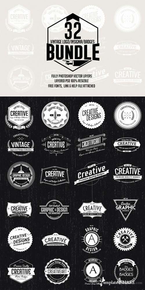 CreativeMarket 32 Logo / Badge / Insignia Bundle