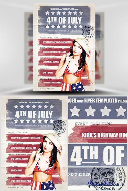 CreativeMarket Vintage 4th July Flyer Template