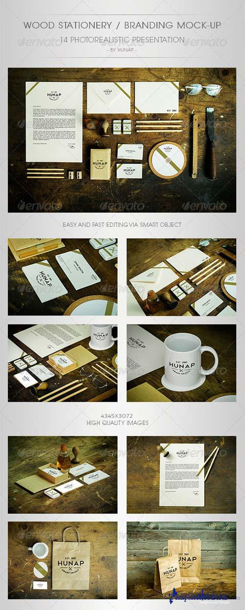 GraphicRiver Wood Stationery / Branding Mock-Up