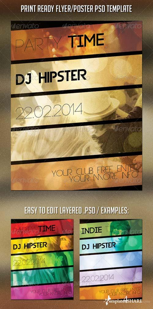 GraphicRiver Party Time Hipster Flyer