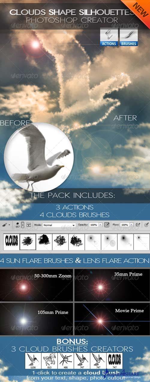 GraphicRiver Cloud Shapes and Brushes Photoshop Creator