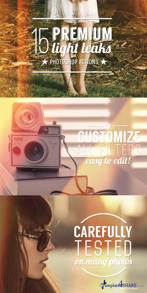 CreativeMarket 15 Premium Light Leak Actions