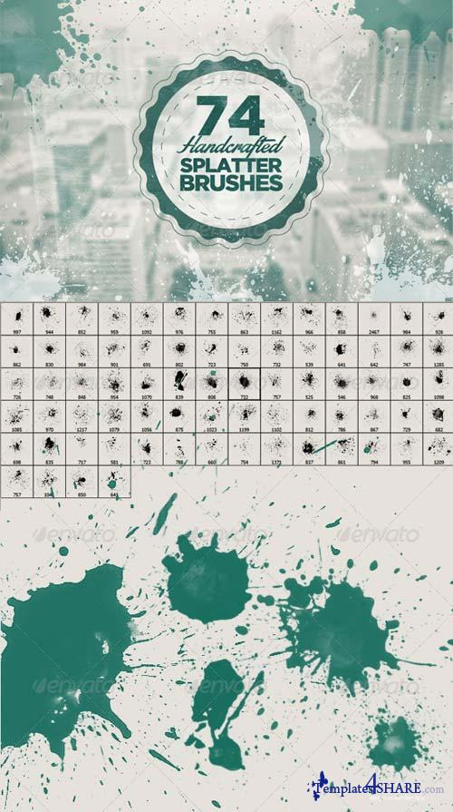 GraphicRiver 74 Handcrafted Splatter Brushes