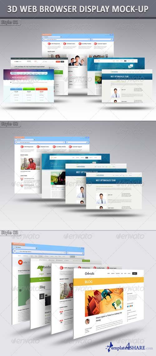 GraphicRiver 3D Web Browser Display Mock-Up