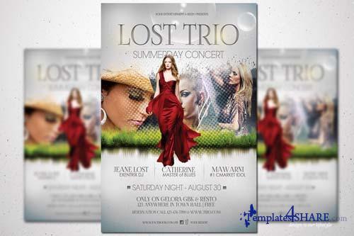 CreativeMarket Lost Trio Flyer - Summer Vaganza
