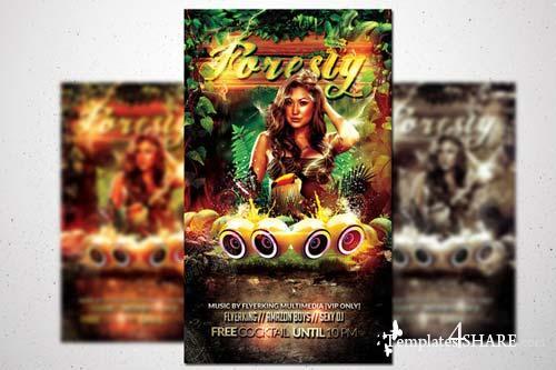 CreativeMarket Foresty Flyer - Jungle Fever