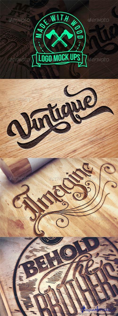 GraphicRiver Engraved Wood Logo Mock Ups